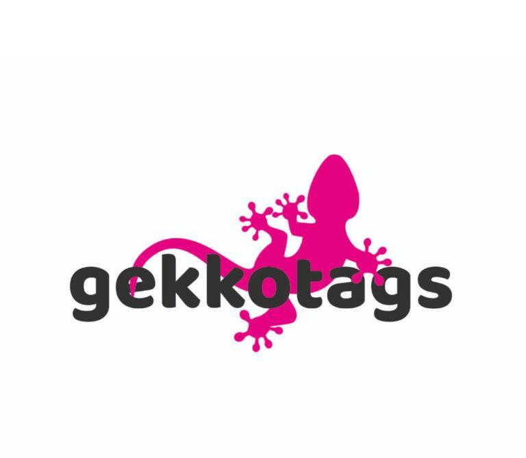 Logo von Gekkotags - ein pinker Gekko mit dem Schriftzug gekkotags in schwarz